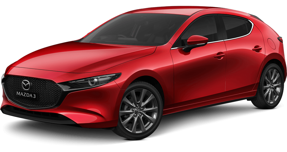 new Mazda 3 red hatch