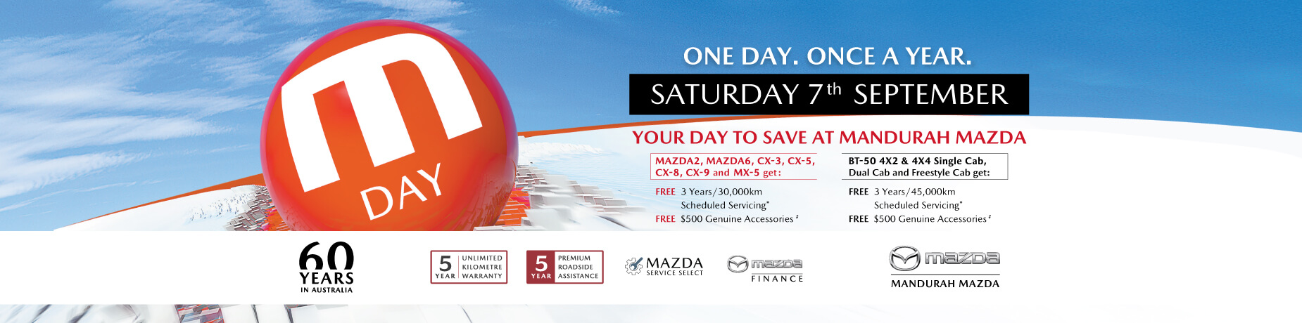 Mazda finance deals once a year banner