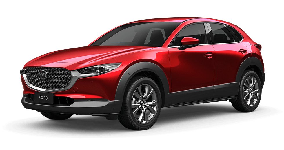 CX-30 red crystal in Mazda dealership Perth